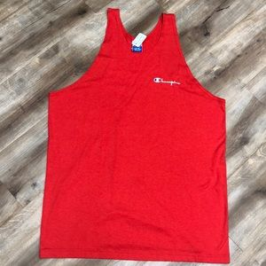 CHAMPION VINTAGE 90s RED SPELLOUT TANK TOP XL